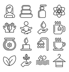 Spa icons set on white background line style vector