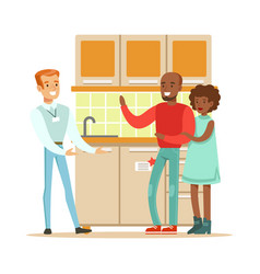 Store seller selling kitchen set to couple vector