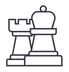 strategychess line icon sign vector image