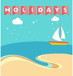 Summer holidays beach scene with ship sailing a vector