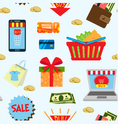supermarket web shopping cartoon set food and vector image