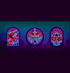 Tattoo parlor set of logos in neon style vector