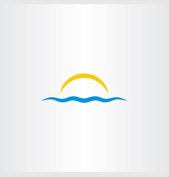 Water wave and sun icon vector
