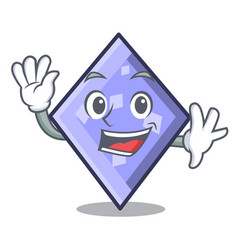 Waving rhombus character cartoon style vector