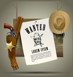 Wild west wood signboard with a sheet and cowboy vector