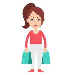 woman with shopping bags on white background vector image