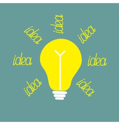 Yellow bulb with ray of light Idea concept vector