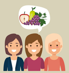 young women with fruits healthy food vector image