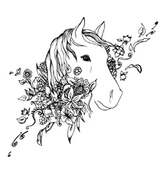 Abstract graphic horse head print vector image