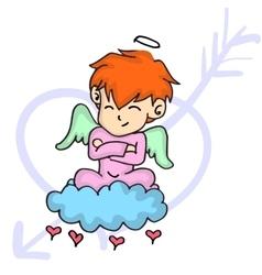 Character of cupid on cloud cartoon vector image