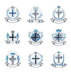 christian crosses emblems set heraldic coat of vector image vector image