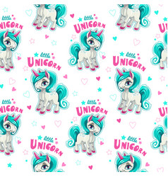 cute seamless pattern with funny cartoon unicorns vector image vector image