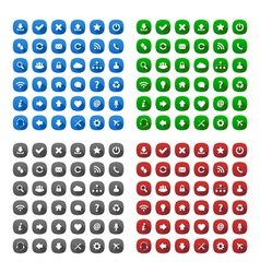 Rounded square long shadow style icons vector image
