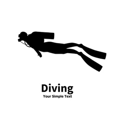 silhouette of diver vector image vector image