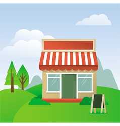 store house with striped awning vector image