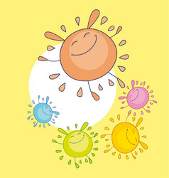 tender color sun funny mascot bubble shape sun vector image vector image