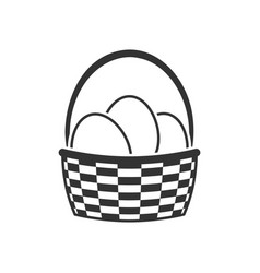 basket with easter eggs icon vector image