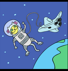 cartoon cat astronaut in yellow and blue colors vector image