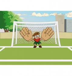 cartoon goalkeeper at the gate vector image vector image