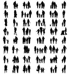 families at walking vector image