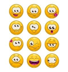 Funny cartoon yellow faces set vector image vector image