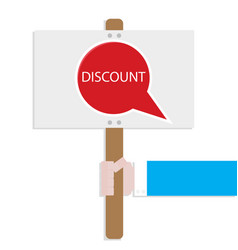 Hand hold promotion banner discount vector
