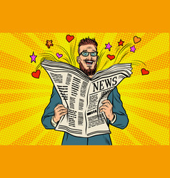happy hipster reads the newspaper news vector image vector image
