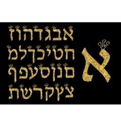 Hebrew alphabet gold on a black background Hebrew vector image vector image