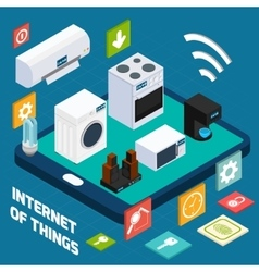 Iot concise household isometric concept icon vector image
