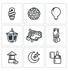Set of Lighting Icons Powersave lamp vector image