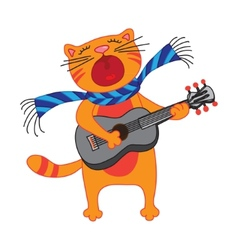 singing cat plays guitar on white background vector image