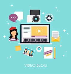 Video blogging concept Template blogging vector image