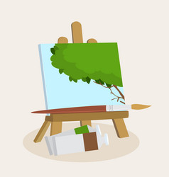 artists easel with a displayed painting vector image vector image