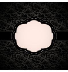 Black seamless floral pattern with vintage frame vector image vector image
