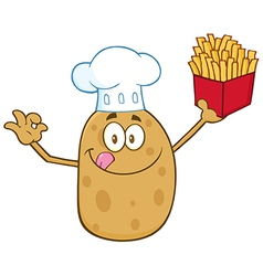 Chef Potato Cartoon with Fries vector image vector image