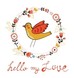 Elegant love card with bird vector image vector image