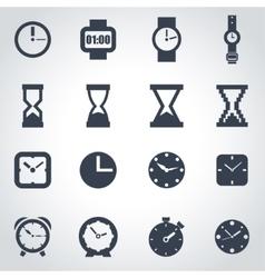 black clock icon set vector image vector image