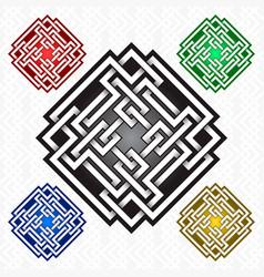 cruciform rhombus logo template in celtic knots vector image