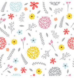 cute floral seamless pattern with flowers spring vector image