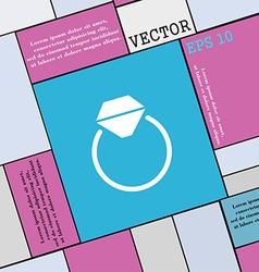 Diamond engagement ring icon sign modern flat vector