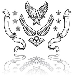 doodle us military insignia airforce modern vector image