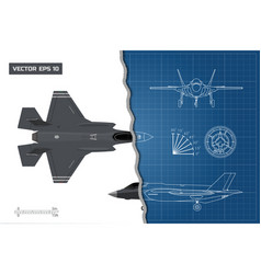 drawing of military aircraft industrial blueprint vector image vector image