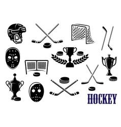 Ice hockey icons with caption Hockey vector image