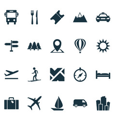 Journey icons set includes icons such as boat vector