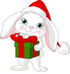 little rabbit with Christmas gift vector image vector image
