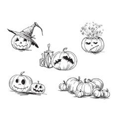 scary halloween pumpkins vector image