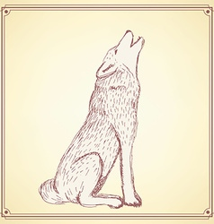 Sketch howling wolf in vintage style vector image