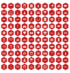 100 wealth icons hexagon red vector
