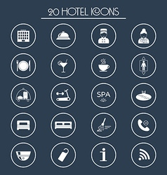 20 hotel services icons Silhouette vector image