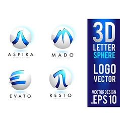 3D Letter Sphere Logo Design vector